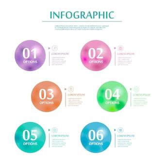 Conception infographique élégante avec des éléments circulaires colorés