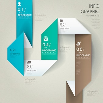 Conception infographique élégante avec des éléments en papier pliants