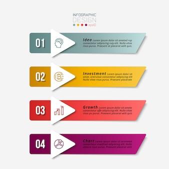 Conception infographique d'entreprise avec 4 étapes.