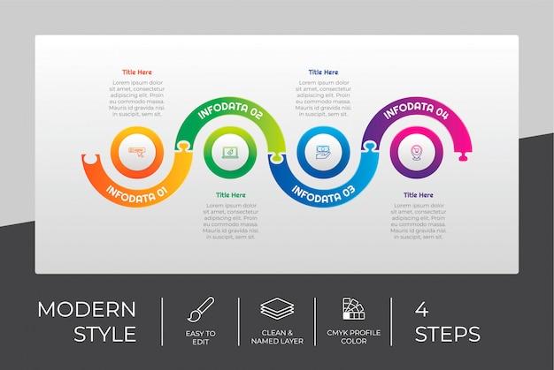Conception infographique d'étape de puzzle avec 4 étapes et style coloré à des fins de présentation.