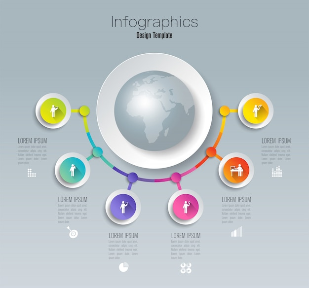Conception infographique avec étapes ou options.