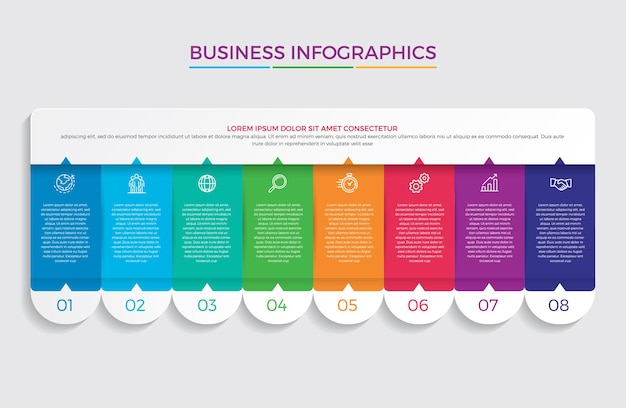 Conception infographique et marketing. concept d'entreprise avec 8 options, étapes ou processus.