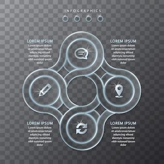 Conception infographique modèle ui verre transparent rondes étiquettes et icônes de cadre de chaîne. idéal pour la mise en page du flux de travail et le diagramme de processus de présentation de concept d'entreprise.