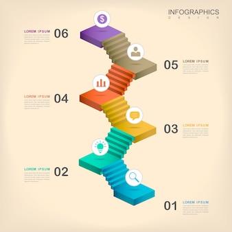 Conception infographique moderne avec des éléments d'escaliers colorés