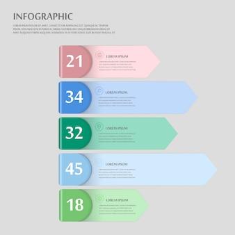 Conception infographique moderne avec des éléments d'étiquette colorés