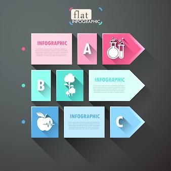 Conception infographique plat avec des carrés, des flèches et des icônes
