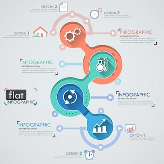 Conception infographique plat avec des icônes pour 4 options