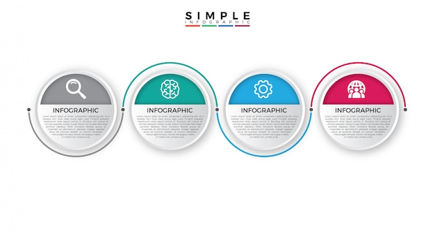 Conception infographique de la timeline avec options ou étapes