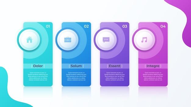 Conception infographique de vecteur moderne avec modèle de quatre options