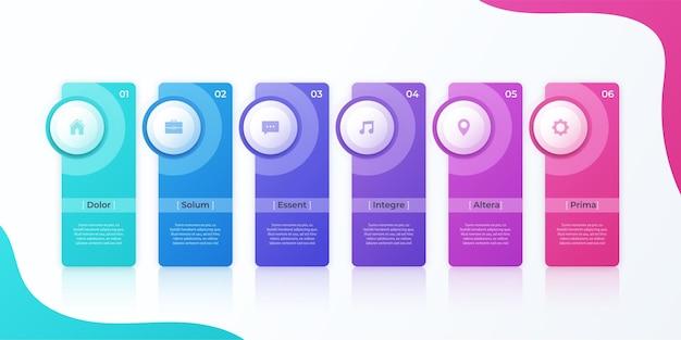 Conception infographique vectorielle moderne avec modèle de six options