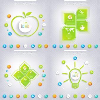Conception infographique verte moderne avec place pour votre texte. concept d'entreprise 3, 4 options.