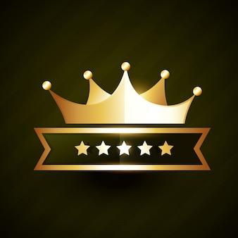 Conception d'insigne couronne d'or avec des étoiles