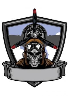 Conception d'insigne de crâne de pilote