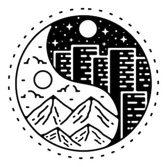 Conception d'insigne extérieur monoline vintage ying et yang