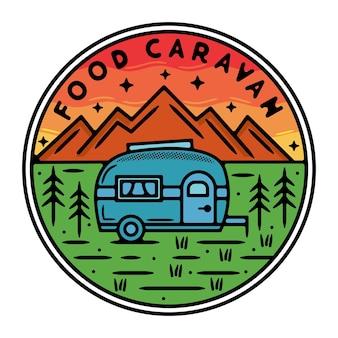 Conception d'insigne extérieur vintage de caravane alimentaire monoline