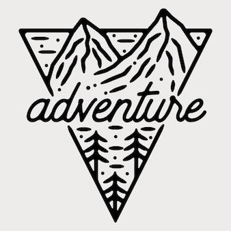 Conception d'insigne extérieur vintage monoline aventure en montagne