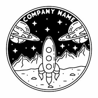 Conception d'insigne extérieur vintage monoline de fusée