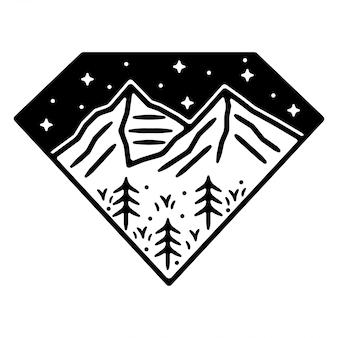 Conception d'insigne extérieur vintage monoline de montagne de diamant