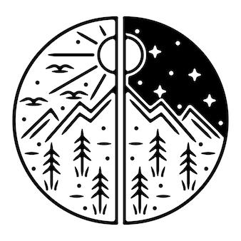 Conception d'insigne d'extérieur vintage monoline de montagne