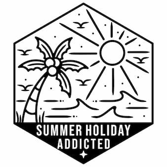 Conception d'insigne extérieur vintage monoline de plage d'été