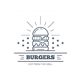 Conception d'insigne de hamburgers, illustration d'art de ligne vectorielle