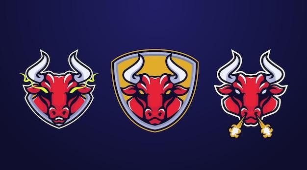 Conception d'insigne de logo e-sport de taureau fort