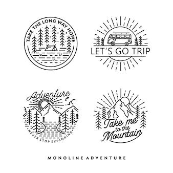 Conception d'insigne monoline d'aventure en plein air vintage