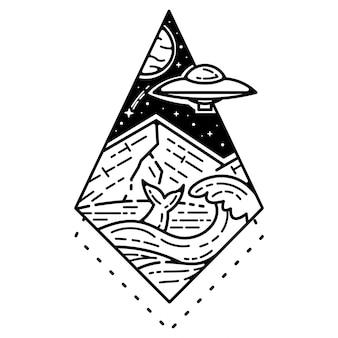 Conception d'insigne monoline de tatouage de paysage vintage