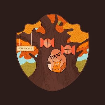 Conception d'insigne de vie de forêt avec l'écureuil refroidissant sur son creux. logo rétro avec des textures dans un style plat. modèle d'impression de t-shirt vintage. illustration vectorielle stock sur fond noir