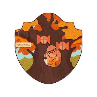 Conception d'insigne de vie de forêt avec l'écureuil refroidissant sur son creux. logo rétro avec des textures dans un style plat. modèle d'impression de t-shirt vintage. illustration vectorielle stock