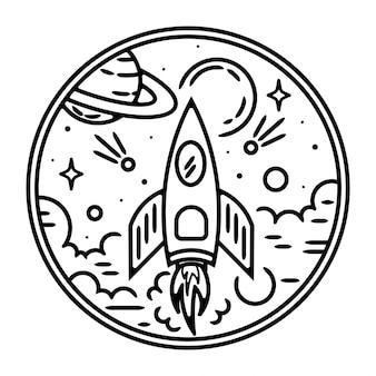 Conception d'insigne vintage fusée minimaliste
