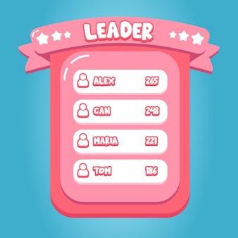 Conception d'interface d'application de jeu mobile leader de bonbons roses vecteur premium de dessin animé doux
