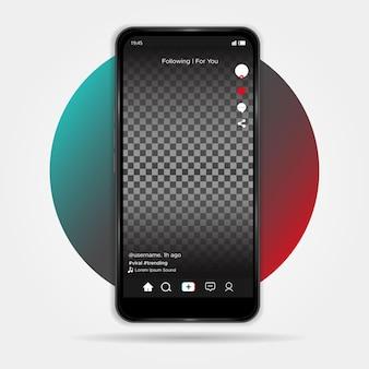 Conception d'interface tiktok minimaliste sur mobile