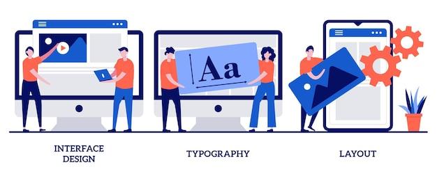 Conception d'interface, typographie et concept de mise en page avec illustration de personnes minuscules