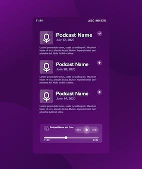 Conception de l'interface utilisateur mobile de l'application et du lecteur de podcast