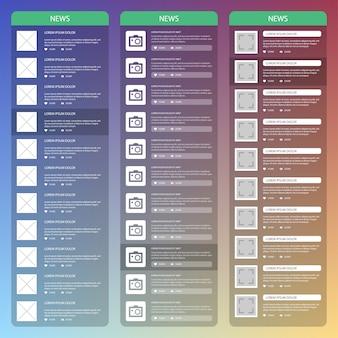 Conception d'interface utilisateur mobile plat. page de nouvelles.