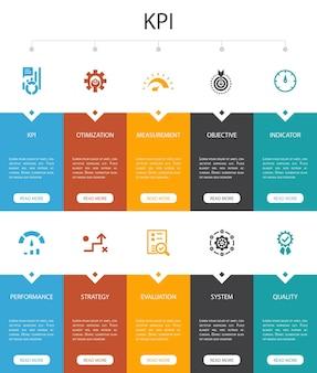 Conception de l'interface utilisateur de l'option kpi infographic 10. optimisation, objectif, mesure, indicateurs simples icônes
