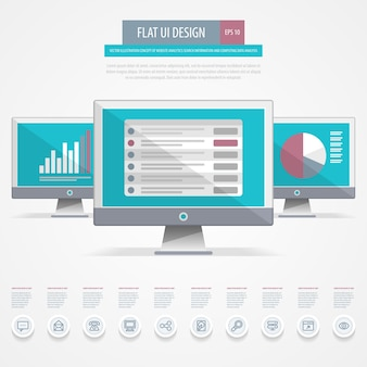 Conception d'interface utilisateur plate. concept d'informations de recherche d'analyse de site web et d'analyse de données informatiques.
