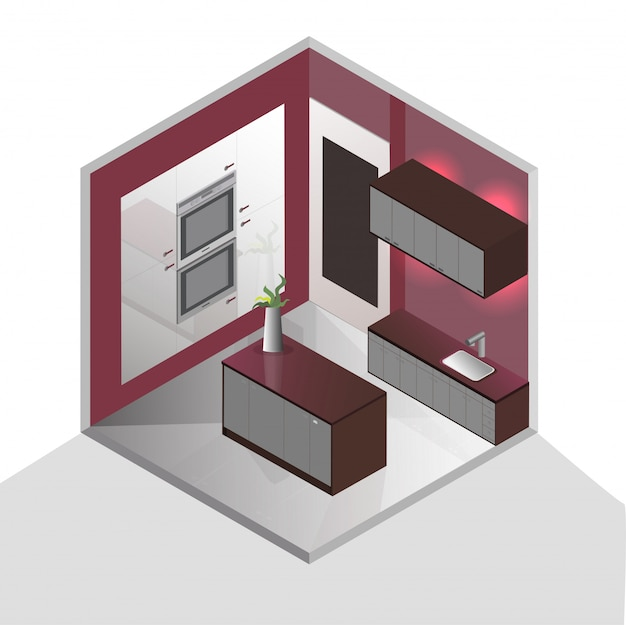 Conception d'intérieur isométrique 3d pour la cuisine.