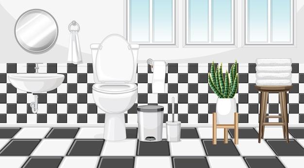 Conception intérieure de salle de bains avec des meubles