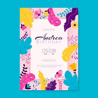 Conception d'invitation d'anniversaire floral