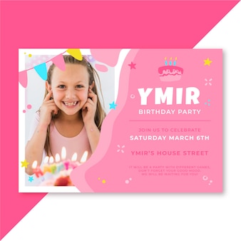 Conception d'invitation d'anniversaire avec photo