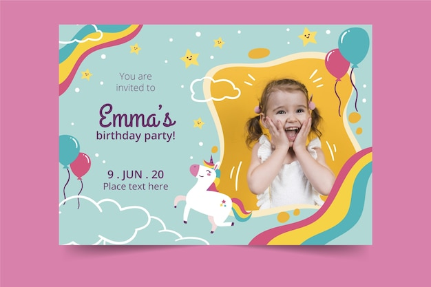 Conception d'invitation d'anniversaire pour enfants