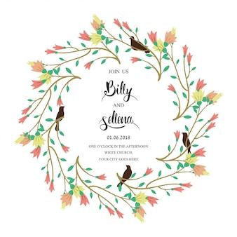 Conception d'invitation avec un cadre floral