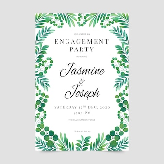 Conception d'invitation d'engagement floral