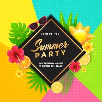 Conception d'invitation de fête d'été tropicale
