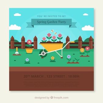 Conception d'invitation de fête de jardin avec brouette