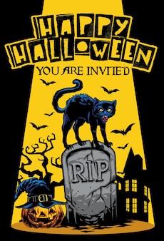 Conception d'invitation halloween avec chat debout au sommet de la pierre tombale