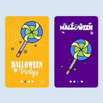 Conception d'invitation d'halloween heureux avec vecteur de bonbons