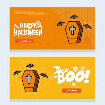 Conception d'invitation d'halloween heureux avec le vecteur de cercueils